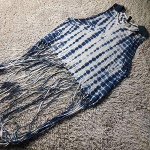 Divided Crop Tye dye with long fringe Top Festival